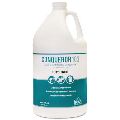 Fresh frs1wbtu conqueror 103 liquid deodorizer tutti frutti one gallon size case of 4 bottles