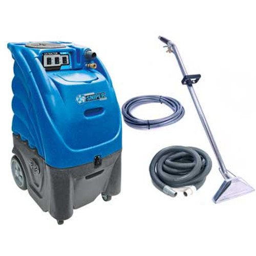 Sandia Sniper carpet extractor 803200h0500 12 gallon canister with heater dual 3 stage vac motors adjustable 200psi pump dual stack