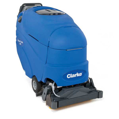 Clarke cleantrack l24 carpet extractor battery powered 56317012 self contained 13 gallon 18 inch cleaning path 100psi pump with 255ah maintenance free agm