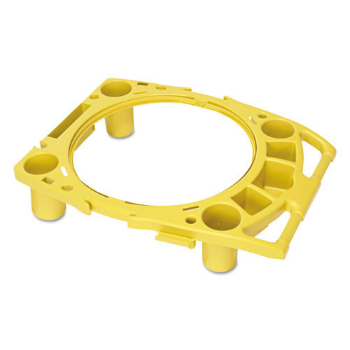 Rubbermaid rcp9w87yel standard rim caddy, 4 comp, fits 32 .5 inch dia cans, 26 .5w x 6 .75h, yellow