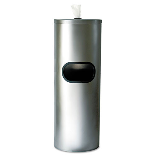 Txll65 stainless stand waste receptacle, cylindrical, 5gal, stainless steel