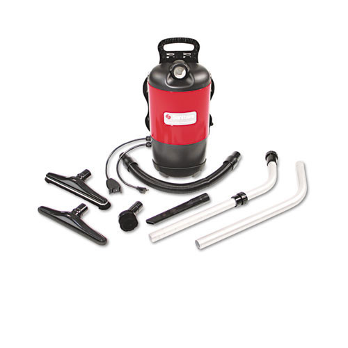 Sanitaire eursc412b commercial backpack vacuum, 11.5lb, red