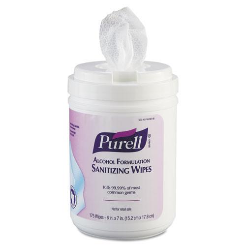 Gojo goj903106 premoistened sanitizing wipes, alcohol formulation, 6 x 7, white, 175 canister