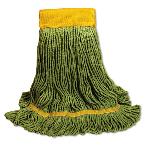 Boardwalk BWK1200LCT EcoMop looped end mop head recycled fibers large Size, green, case of 12
