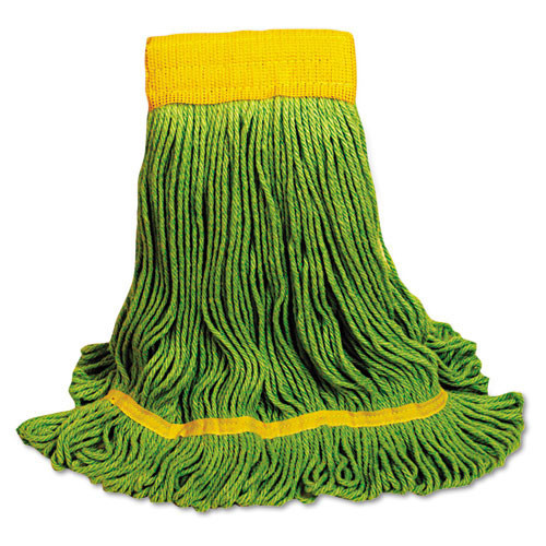 Boardwalk BWK1200MCT EcoMop looped end mop head recycled fibers medium Size, green, case of 12