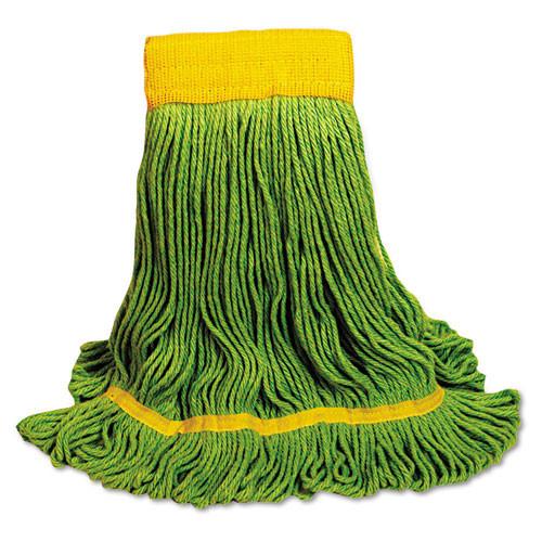 Boardwalk BWK1200MCT EcoMop looped end mop head recycled fibers medium Size, green, case of 12