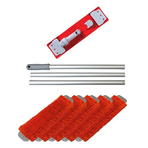 Unger UMFREDKIT microfiber red mop kit includes mop handle mop holder 5 red mops GW
