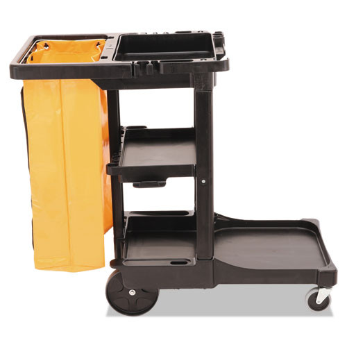 Rubbermaid 617388bla janitor cart 2000 with vinyl bag black replaces rcp617388bla rcp617388bk