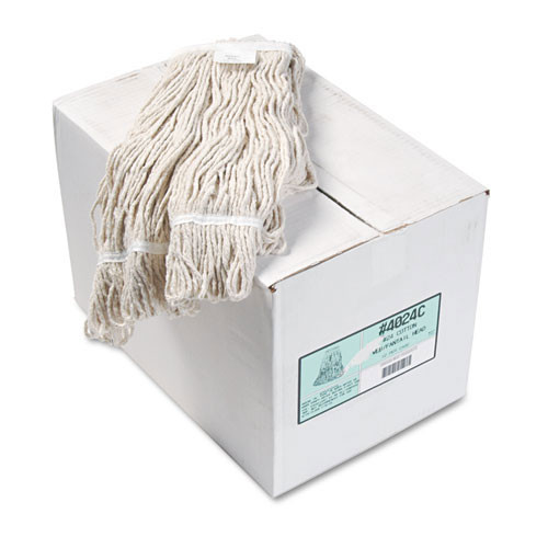 Boardwalk BWK4024CCT cotton looped end fantail wet mop heads number 24 1 inch headband case of 12