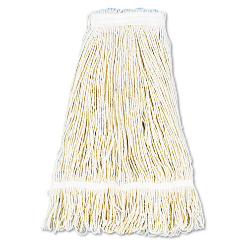 Boardwalk BWK424CCT cotton looped end fantail wet mop heads 24oz 1 inch headband case of 12 replaces UNS424R