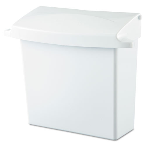 Rubbermaid 6140whi sanitary napkin receptacle with lid white plastic 12.5w x 5.25d x 10.75h replaces rcp6140whi rcp614000