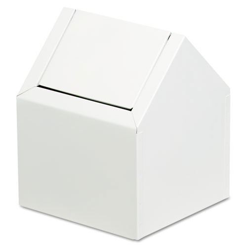 Sanitary napkin receptacle swing type steel white