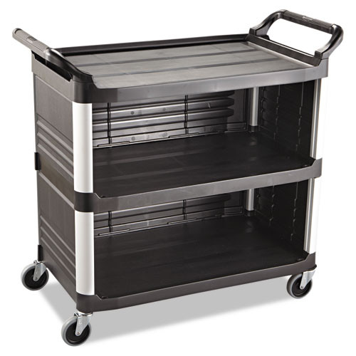 Rubbermaid 4093bla utility cart 3 sides black plastic 40x20x37 inches