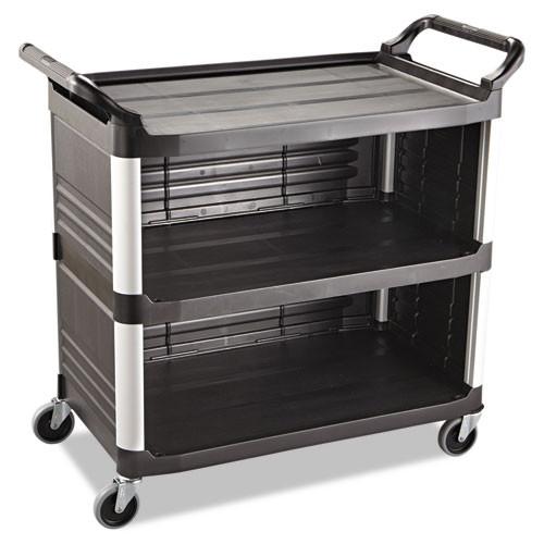 Rubbermaid 4093bla utility cart 3 sides black plastic 40x20x37 inches