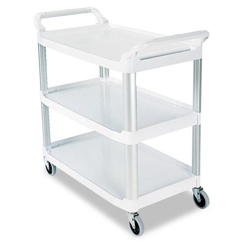 Rubbermaid 4091cre utility cart 3 shelf cream plastic