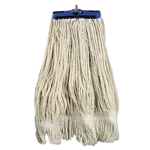Boardwalk BWK824C lieflat cotton mop heads 24oz bolt style looped with tailband case of 12