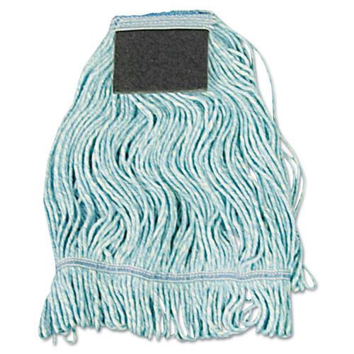 Boardwalk BWK902BL looped end wet mop heads scrub pad blue medium 1 inch headband case of 12