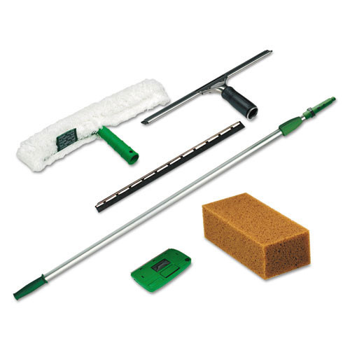 Unger ungpwk00 pro window cleaning kit pwk00 with window squeegees strip washer extension handle sponge scraper