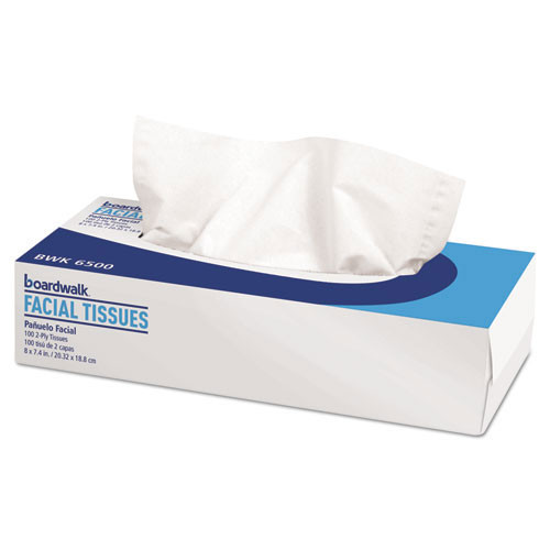 Boardwalk BWK6500 facial tissue 2 ply white 8 x 7.4 tissues 100 tissues per box case of 30 boxes