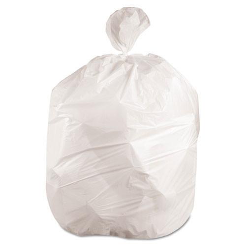 Boardwalk BWK2423EXH 10 gallon trash bags case of 500 white 24x23 linear low .40 mil regular strength coreless rolls