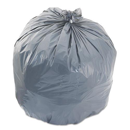 Boardwalk BWK3339SEH 33 gallon trash bags case of 100 gray 33x39 linear low 1.10 mil extra heavy duty strength coreless rolls