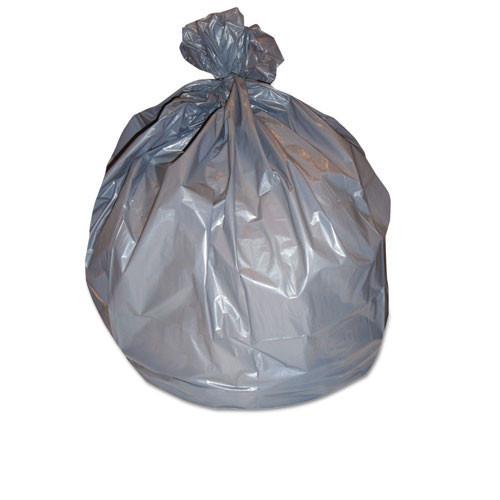 Boardwalk BWK3858SEH 60 gallon trash bags case of 100 gray 38x58 linear low 1.10 mil extra heavy duty strength coreless rolls