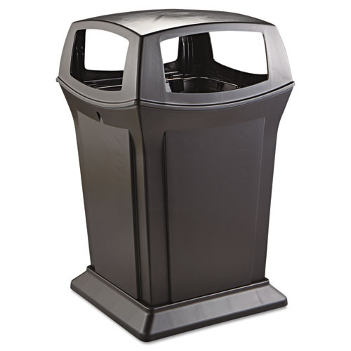 Rubbermaid 917388bla Ranger trash cans 45 gallon Ranger container with four way open access black