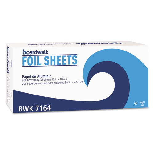 Boardwalk BWK7164 pop up aluminum foil sheets 12 inch x 10.75 inch 200 sheets per box case of 12 boxes