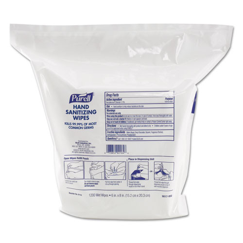 Purell hand sanitizer sanitizing wipes refill pouch 1200 wipes per pouch case of 2 refill pouches Gojo goj911802