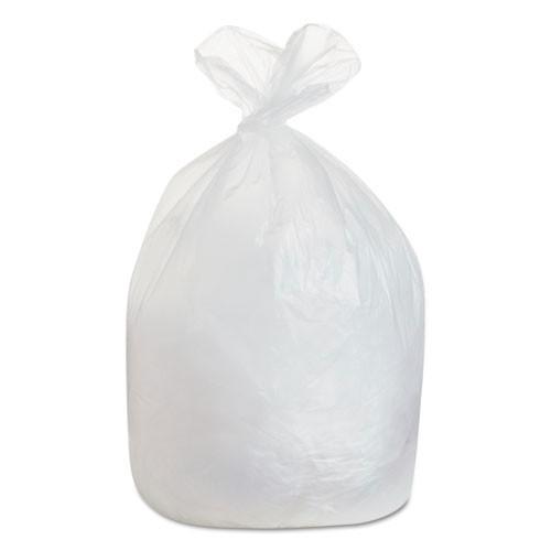Boardwalk BWK385822 60 gallon trash bags case of 150 clear 38x58 high density 22 mic eqv extra heavy duty strength coreless rolls