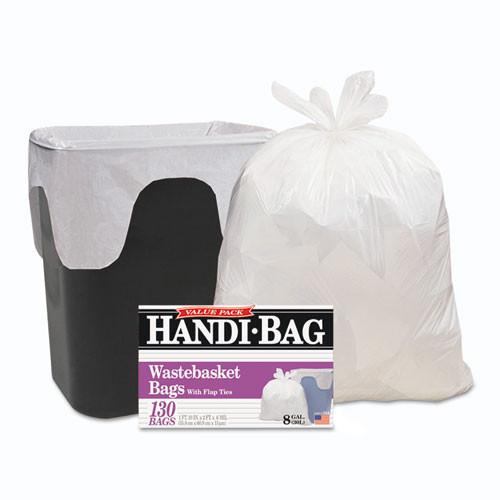 HandiBag WBIHAB6FW130 handi bag super value pack 8gal .55mil 22x24 white 130 box