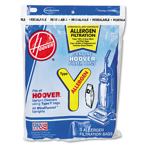 Hoover HVR4010100Y disposable allergen filtration bags for commercial windtunnel vacuum 3 pack