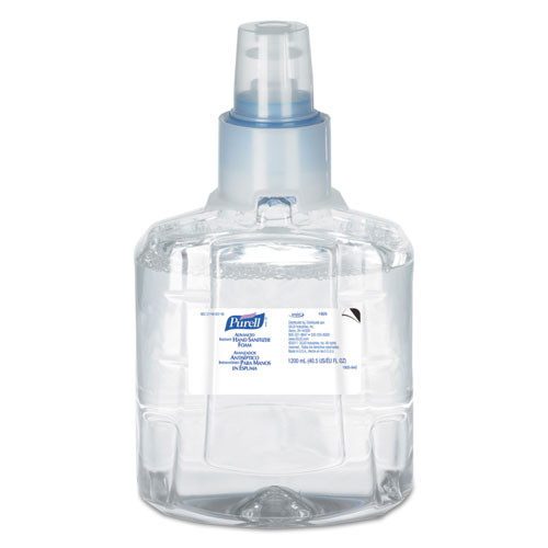 Purell GOJ190502CT advanced instant hand sanitizer foam ltx 12 1200ml refill clear 2 carton