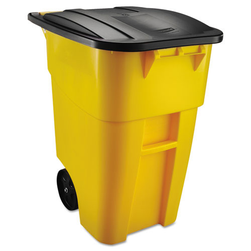 Rubbermaid 9w27yel trash can 50 gallon square Brute big wheel yellow