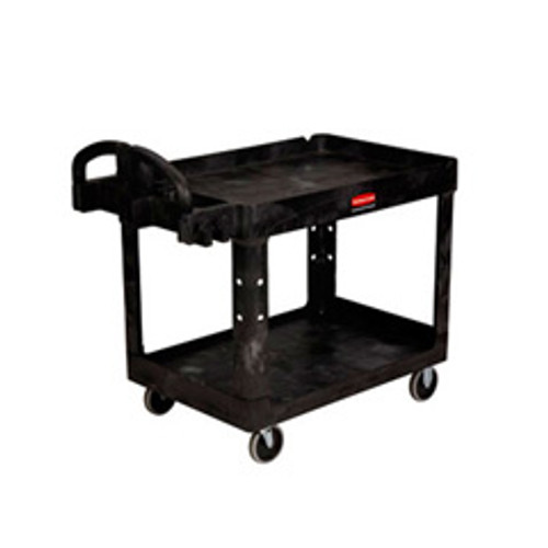 Rubbermaid 4546bla heavy duty utility cart with non marking casters 54x25.25x33.25 750 lbs. black