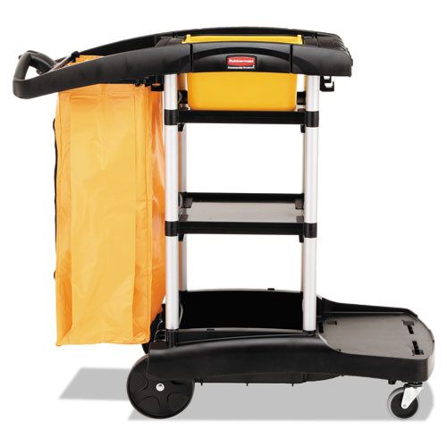 Rubbermaid 9t72 microfiber janitor cart high capacity cleaning cart with vinyl bag and disinfecting caddies 22x49.25x44 black replaces rcp9t72 rcp9t7200bk