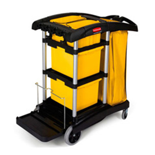Rubbermaid 9t73 microfiber janitor cart cleaning cart with vinyl bag storage bins and disinfecting caddies 22x49.25x44 black