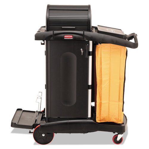 Rubbermaid 9t75 microfiber janitor cart high security cleaning cart with vinyl bag and disinfecting caddies 22x48.25x53.5 black replaces rcp9t75 rcp9t7500