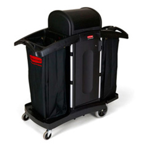 Rubbermaid 9t78 hotel maids housekeeping cart high security with locking hood and doors 22x51.75x53.5