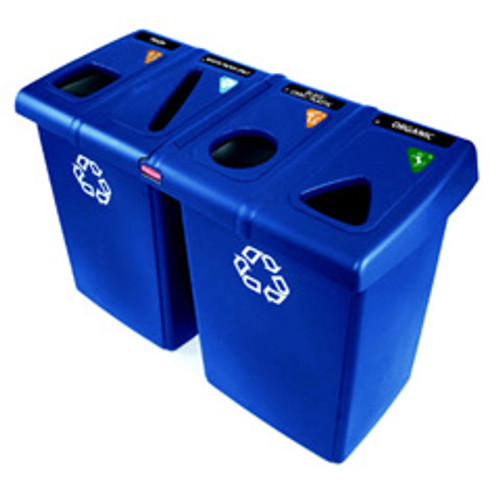 Rubbermaid 1792372 glutton recycling station with 4 streams contains item specific tops symbol label pack and 4 slim jim containers 92 gallon total capaci