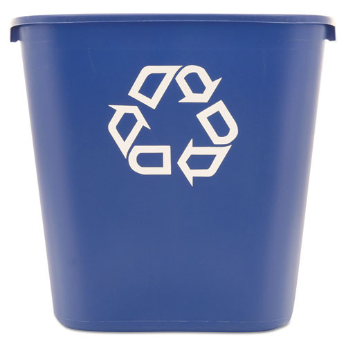 Rubbermaid 295673blu deskside recycling container blue with recycling logo 28.125 quart replaces rcp295673blu rcp295673be