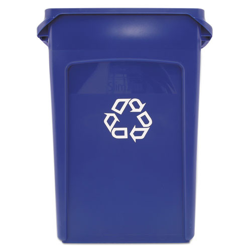 Rubbermaid 354007blu Slim Jim recycling container with venting channels 23 gallon blue replaces rcp354007blu rcp354007be