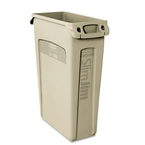Rubbermaid 354060bei Slim Jim trash can 23 gallon container with venting channels beige replaces rcp354060bei rcp354060bg