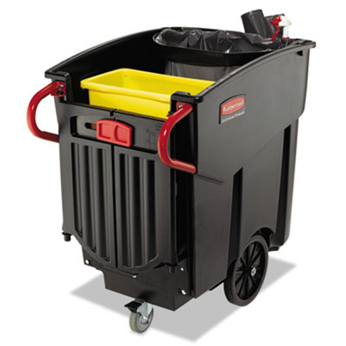 Rubbermaid 9w73bla mega Brute wheeled mobile waste collector black 120 gallon 400lb capacity with rear easy removal doors lid sold separately