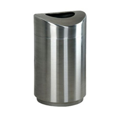 Rubbermaid r2030sspl trash can steel eclipse rounded open top trash can receptacle 30 gallon fire safe satin stainless steel finish