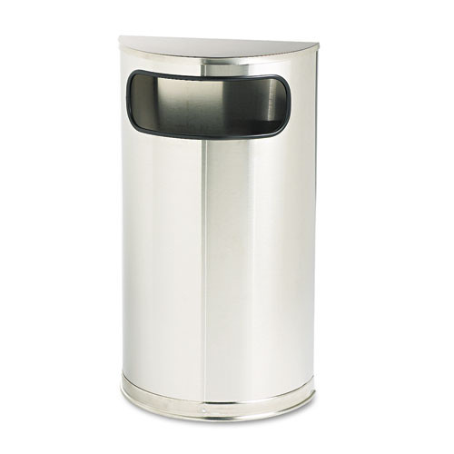 Rubbermaid so8ssspl trash can steel half round container 9 gallon fire safe stainless steel and brass finish