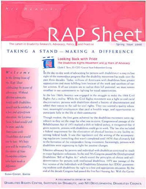 NH RAP Sheet Spring 2006: Taking a Stand, Making a Difference