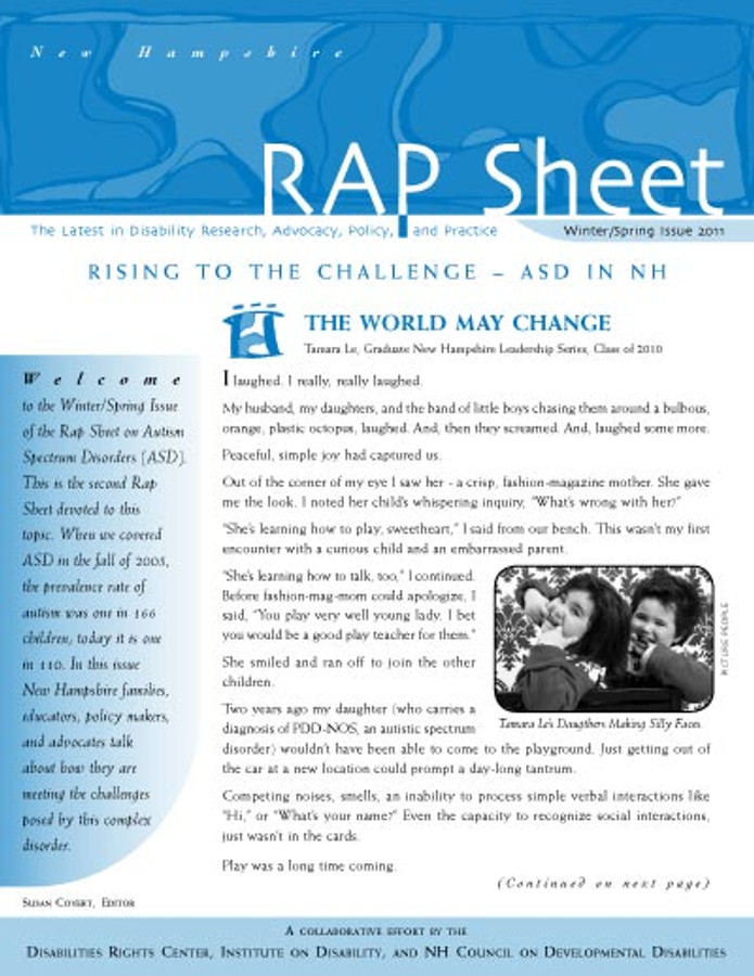 NH RAP Sheet Winter/Spring 2011: Rising to the Challenge, ASD in NH