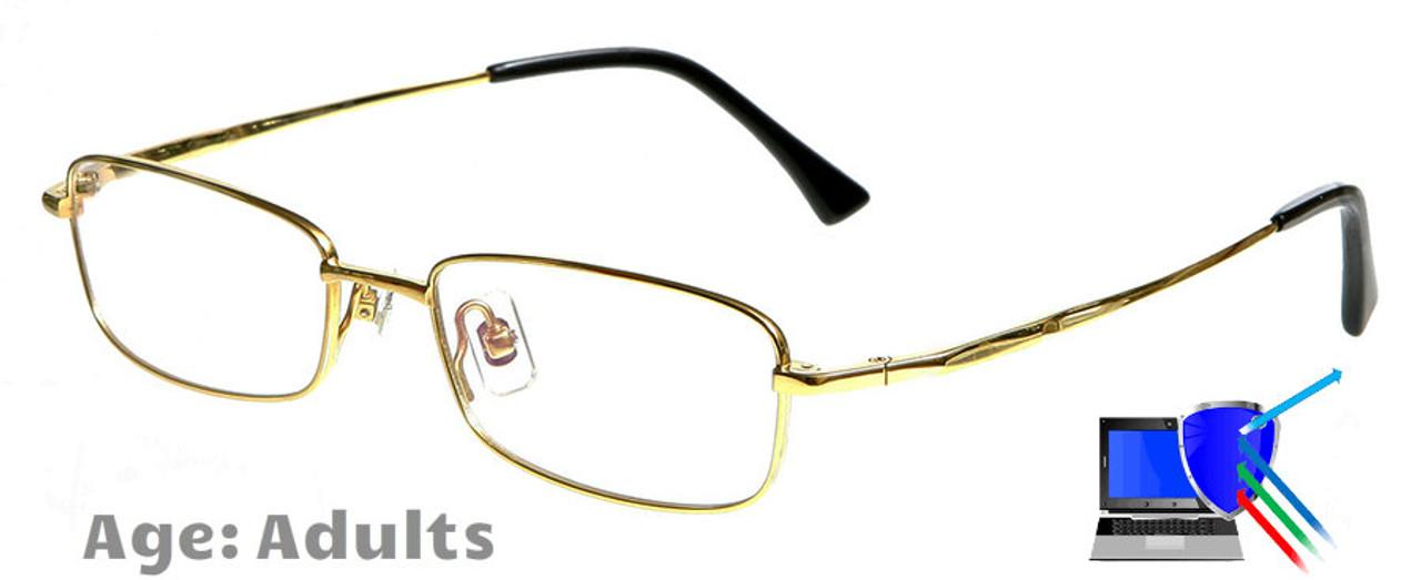 dallas gold prescription glasses blue block lenses available