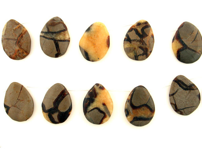 10 Count 42x31mm Brown Septarian Polished Pears (Sale)